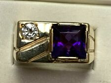 Estate 14k Yellow Gold Over Men's 3.50Ct Amethyst Diamond Wedding Ring
