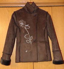 CHADWICK'S WOMENS POLYESTER SUEDE COAT FAUX SUEDE JACKET FAUX FUR LINING SIZE M