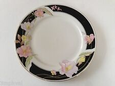 """Lynns Fine China Pearl ALICE 8860 Lily Black Band Floral - 9-1/2"""" LUNCHEON PLATE"""