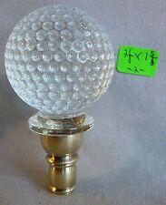 """Lamp Finial  glass dimpled golf ball & brass 2 1/8"""" h x 1 5/8"""" d (per each) (RA)"""
