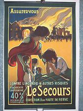 affiche ancienne assurances v.1920 insurance fire poster Bénard Liège litho