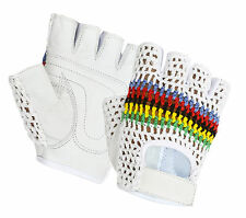 Half Finger Bus Driving Leather Gloves Multicolour Crochet Fitness Cycling Glove