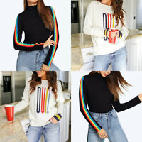 Women Fashion Long Sleeve Rainbow Striped Print O Neck Blouse Pullover Top Shirt