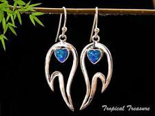 Synthetic Opal Hearts & 925 SOLID Silver Earrings    #48572