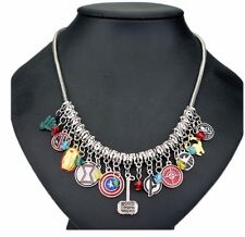 Marvel Comics The AVENGERS (11 Themed Charms) Silvertone Charm Necklace