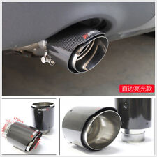 100% Real Carbon Fiber Exhaust Tips 63mm Inlet/114mm outlet Car Muffler Pipe 1X