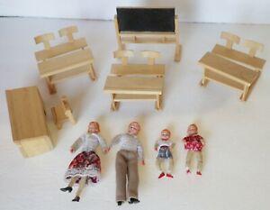 Vintage Redhead Dollhouse Dolls Bendable Caco Germany School Desk Furniture Yarn