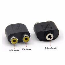 3.5mm Female Audio Aux Jack Stereo to twin 2 X RCA Female Phono Splitter Adaptor