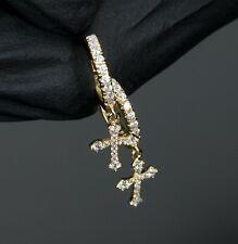 Mens Gold Hip Hop Small Cross Dangle Mini Drop Iced Huggie Clip Hoop Earrings