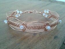 Opalite with non tarnish copper weave bangle / bracelet