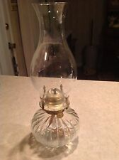 Oil Lamp Clear Base Ribbed Glass Lamplight Farms Goldtone - Fundraiser