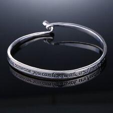 New Lover's Korean Style Letter Charm Crystal Adjustable Silver Bracelets Bangle