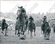 1977 Race Horse Pro Tab Flying to the End with Jockey Mike James Press Photo