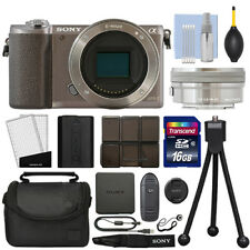 Sony Alpha a5100 Mirrorless Digital Camera with 16-50mm Lens Brown + 16GB Kit