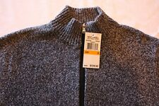 Michael Kors Mens Sweater 2 Pocket Zipper Front Cotton Wool Long Sleeve Gray NWT