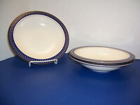 """Mikasa Potter's Touch Aztec Blue 3 Rim Soup Bowls (8.25"""") High Fired Ironstone"""