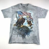 The Mountain Eagle America Tie Dye Blue T Shirt Mens M Medium #225 Made In USA
