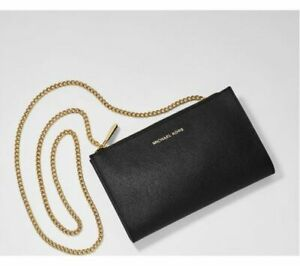 Michael Kors Mini Messenger Bag Black With Gold Chain NEW SEALED