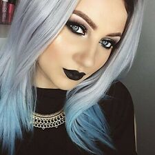 HEAHAIR Ombre Silver Blue Synthetic Wig