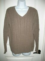 St Johns Bay Sweater Sz XL Cable Knit Brown V-Neck Thick Long Sleeve Womens