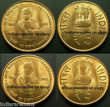 India C Mint Mule Lion Variety Swami Vivekananda Yoga UNC New 2013 Brass 5 Rs