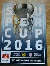 Programm Supercup Borussia Dortmund - FC Bayern München Saison 16/17 FCB BVB