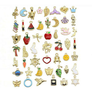 50Pcs/Set Mixed Enamel Beads Charms Pendants DIY Jewelry Findings Craft Making