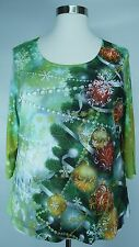 PRETTY ONE WORLD PRINTED EMBELLISHED 3/4 SLEEVE FESTIVE KNIT TOP PLUS Sz 2X