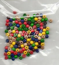 165 PERLE PERLINE DA 4 MM rotonde IN LEGNO verniciato in colori misti mix beads