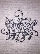 Embroidered Kitchen Hand Towel/Cloth Set Cat Silhouette American Bobtail H1091