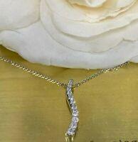 "0.35 Ct Round Cut Diamond Journey Pendant 18"" Chain Necklace 14k White Gold GP"