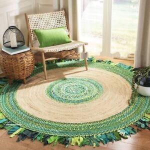 Rug Bohemian Jute &Cotton Braided Style Round 5x5 Feet Meditation Mat Living Rug