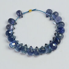 Natural Light Blue Sapphire Faceted Teardrop Briolette Beads (20)
