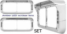 Headlight Bezel Visor Rect Dual Light LED Peterbilt Freightliner Kenworth (SET)