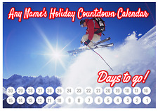 A4 Personalised Holiday Countdown Chart - Laminated with Pen - Ski holiday