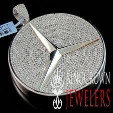 Mens 14K White Gold Sterling Silver Medallion Pendant Lab Diamond 2.5'' Charm