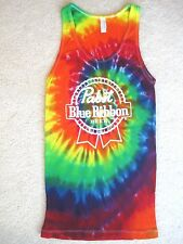 NEW PABST BLUE RIBBON BEER TIE DYE TEE T-SHIRT TANK TOP Large L FUN & COOL!