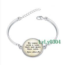 Edgar Allan Poe Annabel glass cabochon Tibet silver bangle bracelets wholesale