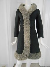Vintage 50s 60s LILLI ANN Grey Wool Belted Coat Trimmed in Curly Lamb