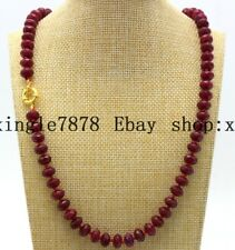 Natural 5x8mm Red Ruby Faceted Rondelle Beads Gemstones Necklace 20""