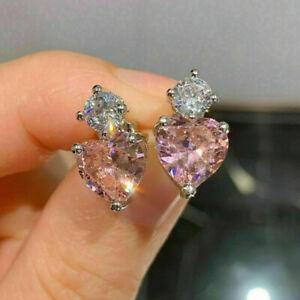 Cubic Zirconia Pretty Heart Jewelry 925 Silver Stud Earrings Women Gifts A Pair