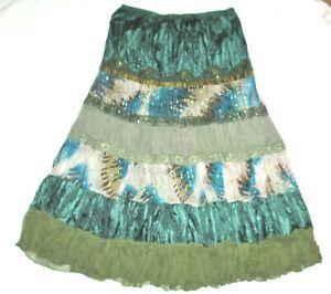 TWENTY ONE gorgeous BOHO green blue tiered skirt L large peasant beaded