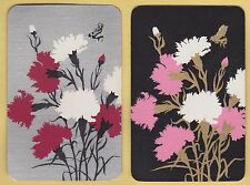2 Single VINTAGE Swap/Playing Cards CARNATION FLOWERS & BEE Silver/Gold Detail