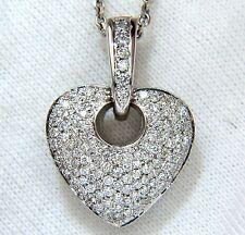 $6000 1.85CT NATURAL DIAMONDS MODIFIED MOD DANGLE HEART PENDANT BEAD SET 18KT VS