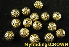 50 pcs Antiqued gold crafted round spacers FC1474