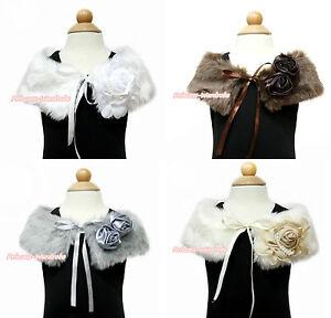 Wedding Flower Baby Girl White Beige Brown Khaki Fauz Fur Pearl Rose Collar Cape