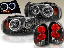 1998-2003 DODGE DURANGO TWIN HALO HEADLIGHTS BLACK LED + TAIL LIGHTS BLACK