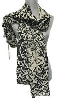 NEW $98. Tahari Scarf wrap 100% Merino Wool Paisley Woven Black Ivory Oblong NWT