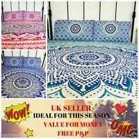 Hippie Indian Bedspread Bedding Set Mandala Bed Cover 2 Pillow Cover Boho Ombre