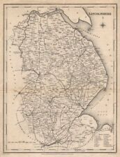 Antique county map of LINCOLNSHIRE by Walker & Creighton for Lewis c1840